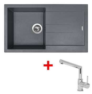 Sinks AMANDA 860 Titanium + Sinks MIX 350 P lesklá