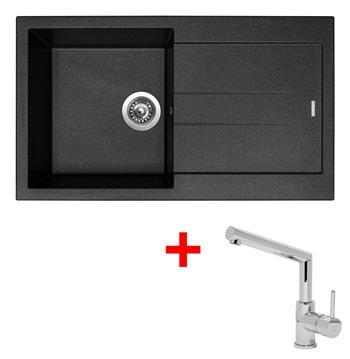 Sinks AMANDA 860 Metalblack + Sinks MIX 350 P lesklá