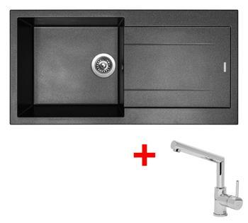 Sinks AMANDA 990 Metalblack + Sinks MIX 350 P lesklá