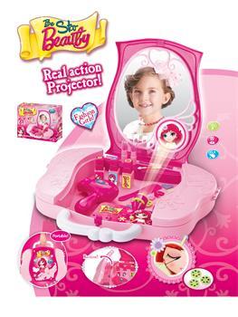 Hračka G21 Dětský kosmetický kufřík s příslušenstvím s projekcí