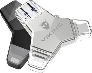 Viking USB Flash disk 3.0 4v1 s koncovkou Lightning/Micro USB/USB/USB-C, 32 GB, černá