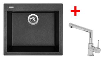 Sinks CUBE 560 Granblack + Sinks MIX 350 P lesklá