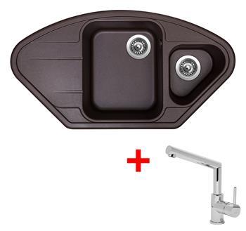 Sinks LOTUS 960.1 Marone + Sinks MIX 350 P lesklá