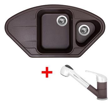 Sinks LOTUS 960.1 Marone + Sinks CAPRI 4 S - 93 Marone