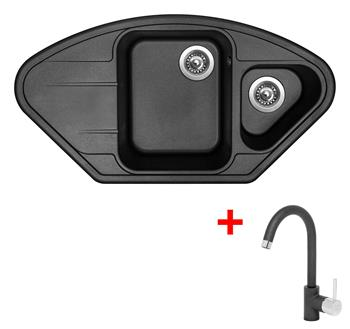 Sinks LOTUS 960.1 Metalblack + Sinks MIX 35 - 74 Metalblack