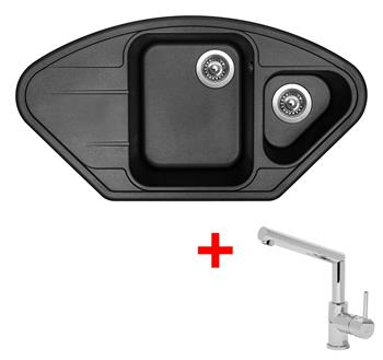 Sinks LOTUS 960.1 Metalblack + Sinks MIX 350 P lesklá
