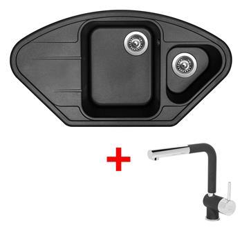 Sinks LOTUS 960.1 Metalblack + Sinks MIX 3 P - 74 Metalblack