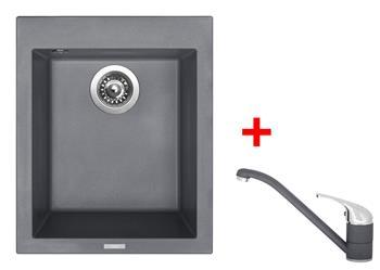 Sinks CUBE 410 Titanium + Sinks CAPRI 4 - 72 Titanium