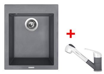 Sinks CUBE 410 Titanium + Sinks CAPRI 4 S - 72 Titanium