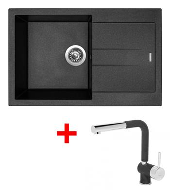 Sinks AMANDA 780 Metalblack + Sinks MIX 3 P - 74 Metalblack