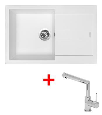 Sinks AMANDA 780 Milk + Sinks MIX 350 P lesklá