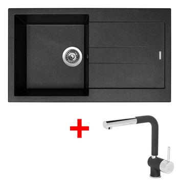 Sinks AMANDA 860 Metalblack + Sinks MIX 3 P - 74 Metalblack