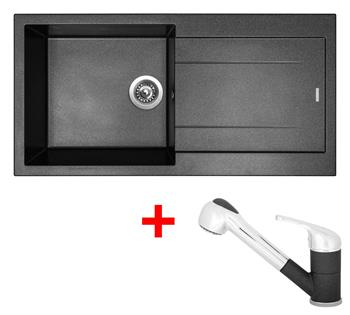 Sinks AMANDA 990 Metalblack + Sinks CAPRI 4 S - 74 Metalblack