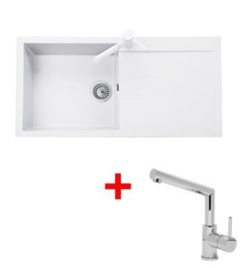 Sinks AMANDA 990 Milk + Sinks MIX 350 P lesklá