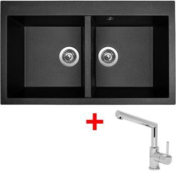 Sinks AMANDA 860 DUO Metalblack + Sinks MIX 350 P lesklá