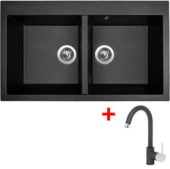 Sinks AMANDA 860 DUO Metalblack + Sinks MIX 35 - 74 Metalblack