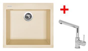Sinks CUBE 560 Sahara + Sinks MIX 350 P lesklá