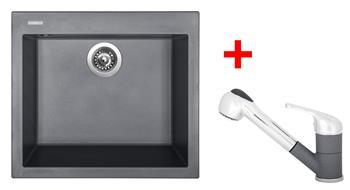 Sinks CUBE 560 Titanium + Sinks CAPRI 4 S - 72 Titanium