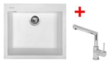 Sinks CUBE 560 Milk + Sinks MIX 350 P lesklá