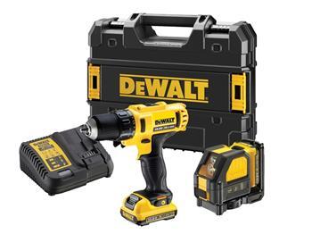 DeWALT DCK215D2T-QW sada aku vrtačky a laseru v kufru