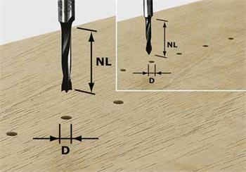 Festool HW D3/16 Kolíkový vrták HW, stopka 8 mm (491065)