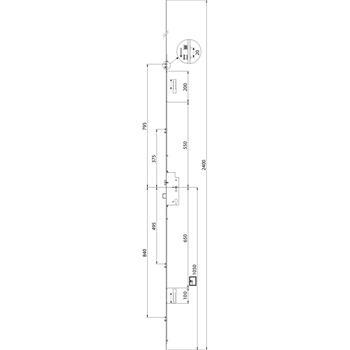 MACO vícebodový zámek Z-TS, PZ92, DM45, 4iS, čtyřhran 8mm, 2400x20x3mm lišta !! 20mm !! (230762)