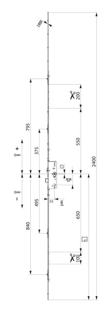 MACO vícebodový dveřní zámek G-TS ovládaný klikou DM55mm rozteč 92mm (232015)