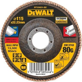 DeWALT DT30621 Brusný lamelový kotouč plochý Extreme na kov 80 G, 115 mm
