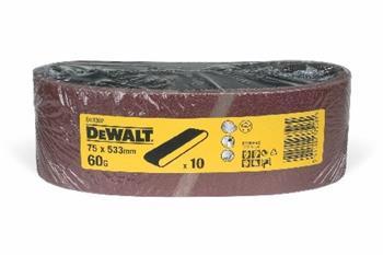 DeWALT DT3302 Brusný pás pro pásové brusky K60, 533 x 75 mm, 10 ks