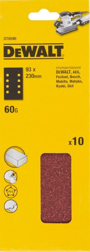 DeWALT DT8590 Brusný papír na suchý zip P60, 230 x 93 mm, 10ks