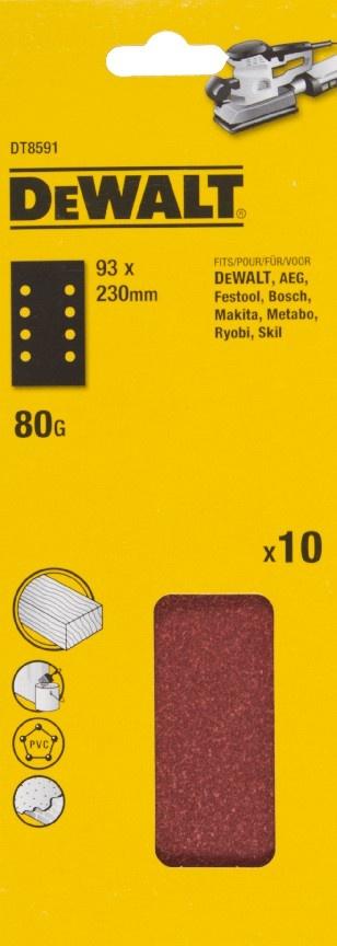 DeWALT DT8591 Brusný papír na suchý zip P80, 230 x 93 mm, 10ks