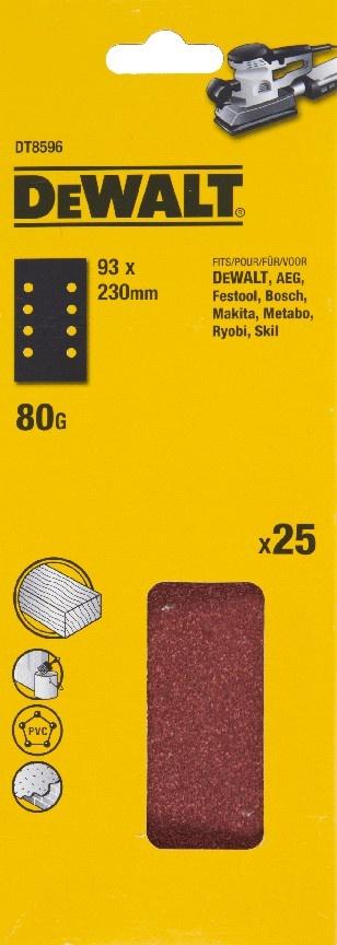 DeWALT DT8596 Brusný papír na suchý zip P80, 230 x 93 mm, 25 ks