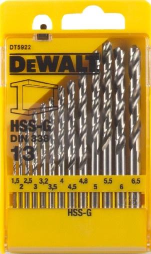 DeWALT DT5922 sada vrtáků do kovu HSS-G DIN 338, 13 ks