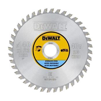 DeWALT DT1918 kotouč pro kotoučové pily, řezání nerezové oceli 140 x 20 mm, 40 zubů