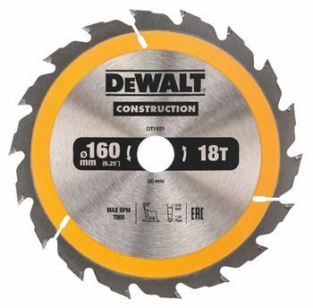 DeWALT DT1931 pilový kotouč CONSTRUCTION pro dřevo s hřebíky, 160 x 20 mm, 18 zubů
