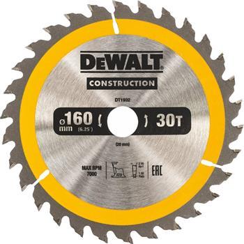 DeWALT DT1932 pilový kotouč CONSTRUCTION pro ruční kotoučové AKU pily na dřevo s hřebíky, 160 x 20 mm, 30 zubů