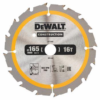 DeWALT DT1948 pilový kotouč CONSTRUCTION pro ruční kotoučové AKU pily na dřevo s hřebíky, 165 x 20 mm, 16 zubů