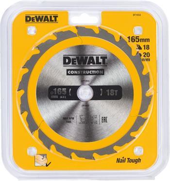 DeWALT DT1933 pilový kotouč CONSTRUCTION pro ruční kotoučové pily na dřevo s hřebíky, 165 x 20 mm, 18 zubů