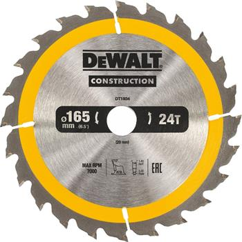 DeWALT DT1934 pilový kotouč CONSTRUCTION pro ruční kotoučové pily na dřevo s hřebíky ,165 x 20 mm, 18 zubů