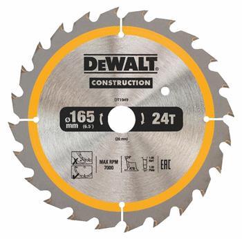 DeWALT DT1949 pilový kotouč CONSTRUCTION pro ruční kotoučové pily na dřevo s hřebíky, 165 x 20 mm, 24 zubů
