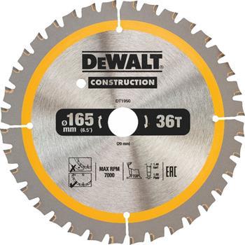 DeWALT DT1950 pilový kotouč CONSTRUCTION pro ruční kotoučové pily na dřevo s hřebíky, 165 x 20 mm, 40 zubů