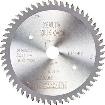 DeWALT DT1087 pilový kotouč SOLID SURFACE pro ponorné pily, 165 x 20 mm, 54 zubů