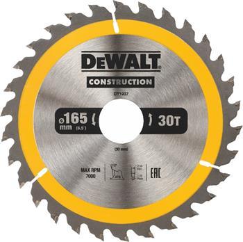 DeWALT DT1937 pilový kotouč CONSTRUCTION pro ruční kotoučové pily na dřevo s hřebíky, 165 x 30 mm, 30 zubů