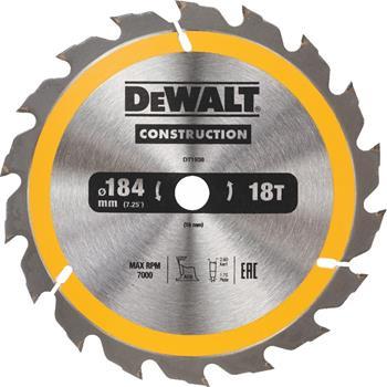 DeWALT DT1938 pilový kotouč CONSTRUCTION pro ruční kotoučové pily na dřevo s hřebíky, 184 x 16 mm, 18 zubů