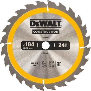 DeWALT DT1939 pilový kotouč CONSTRUCTION pro ruční kotoučové pily na dřevo s hřebíky, 184 x 16 mm, 24 zubů
