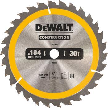 DeWALT DT1940 pilový kotouč CONSTRUCTION pro ruční kotoučové pily na dřevo s hřebíky, 184 x 16 mm, 30 zubů