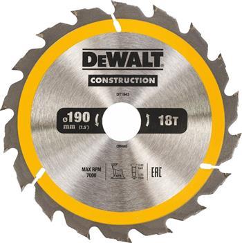 DeWALT DT1943 pilový kotouč CONSTRUCTION pro ruční kotoučové pily na dřevo s hřebíky, 190 x 30 mm, 18 zubů