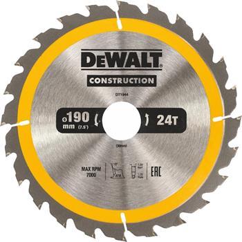 DeWALT DT1944 pilový kotouč CONSTRUCTION pro ruční kotoučové pily na dřevo s hřebíky, 190 x 30 mm, 24 zubů
