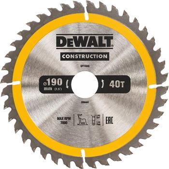 DeWALT DT1945 pilový kotouč CONSTRUCTION pro ruční kotoučové pily na dřevo s hřebíky, 190 x 30 mm, 40 zubů