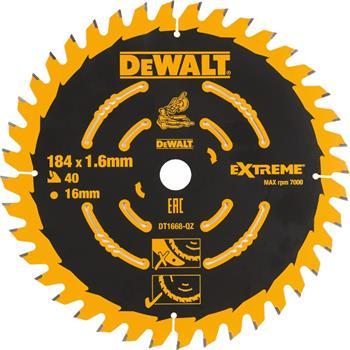 DeWALT DT1668 pilový kotouč EXTREME pro AKU kotoučové pily, 184 x 16 mm, 40 zubů